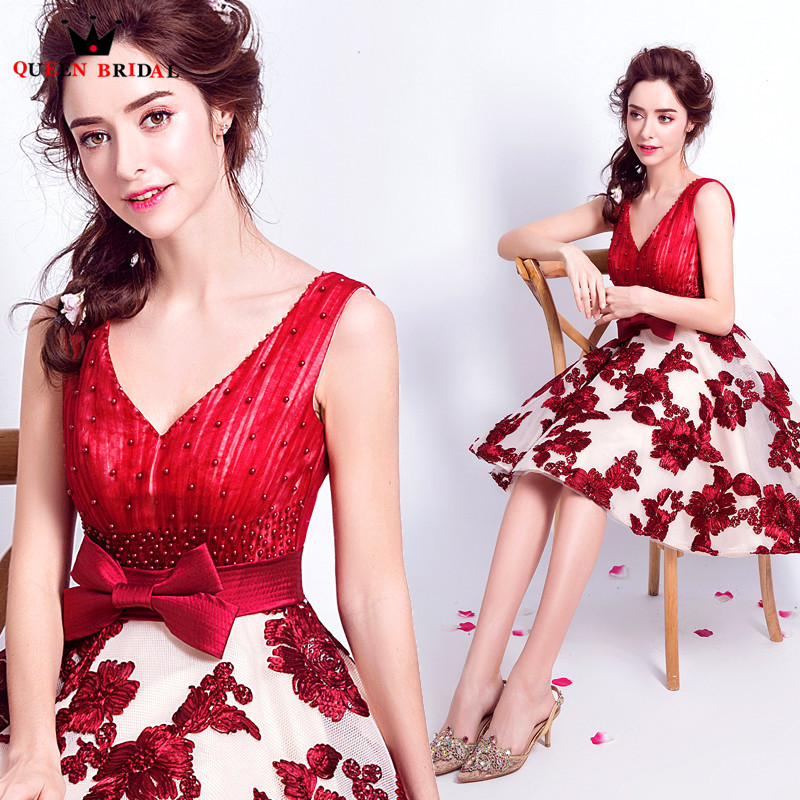 QUEEN BRIDAL Evening Dresses A line Vneck Flowers Short Women Prom Party Dress Evening Gown 2018
