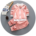 Do bebé roupa set 2016 nova primavera infantil bebés meninas se adapte 2 pcs floral impresso manga comprida outwear cardigan casaco + calças