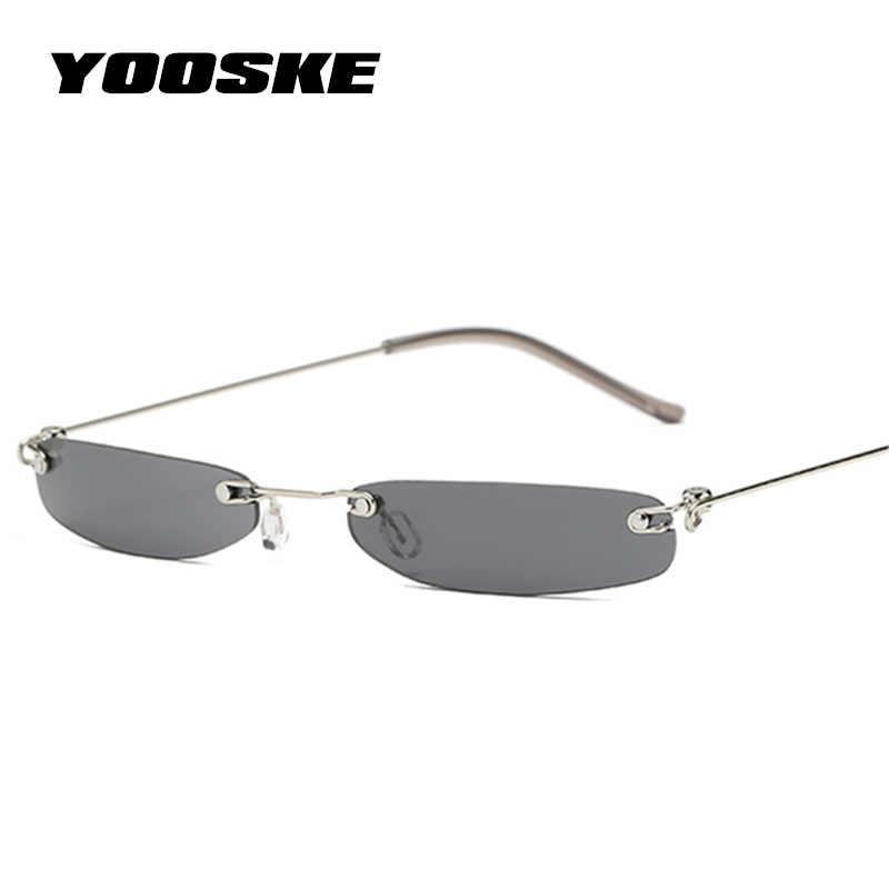 890168bd67 YOOSKE mujeres pequeñas gafas de sol hombres pequeñas gafas de sol  estrechas Retro rectángulo femenino ultraligero
