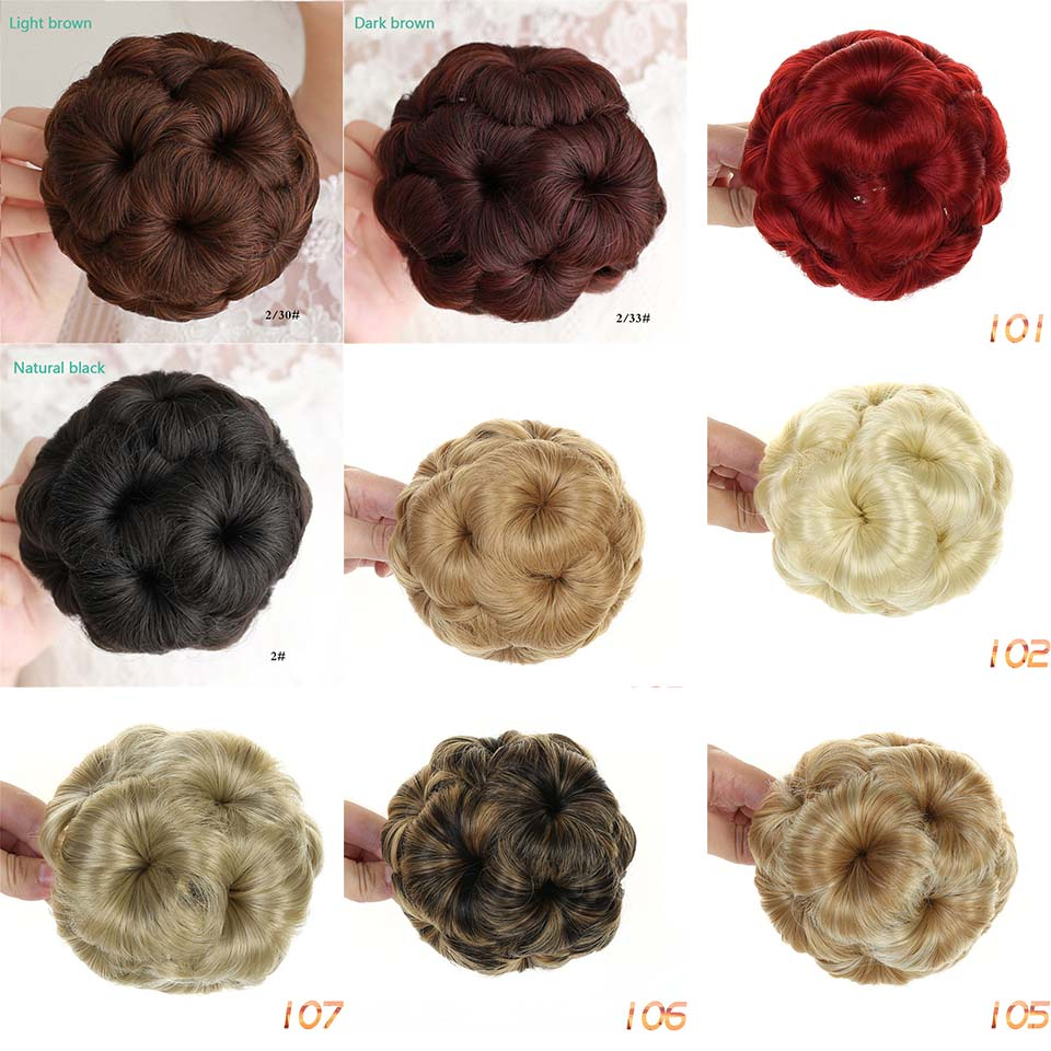 DIFEI Synthetic High Temperature Fiber Chignon Nine Flowers Hair Women Curly Chignon Hair Bun Donut Clip In Hairpiece