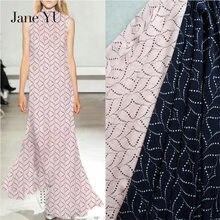 JaneYU Elegant Abstract Wave Dot Geometric Printing High Twist Chiffon Yarn Fabric Summer Dress, Shirt, Womens Clothing