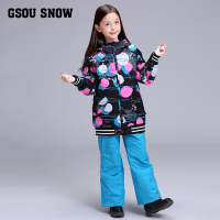 2018 Girls Ski Suit Gsou Snow Skiing Snowboard Jacket Pant Super Warm Kids Children Sport Wear