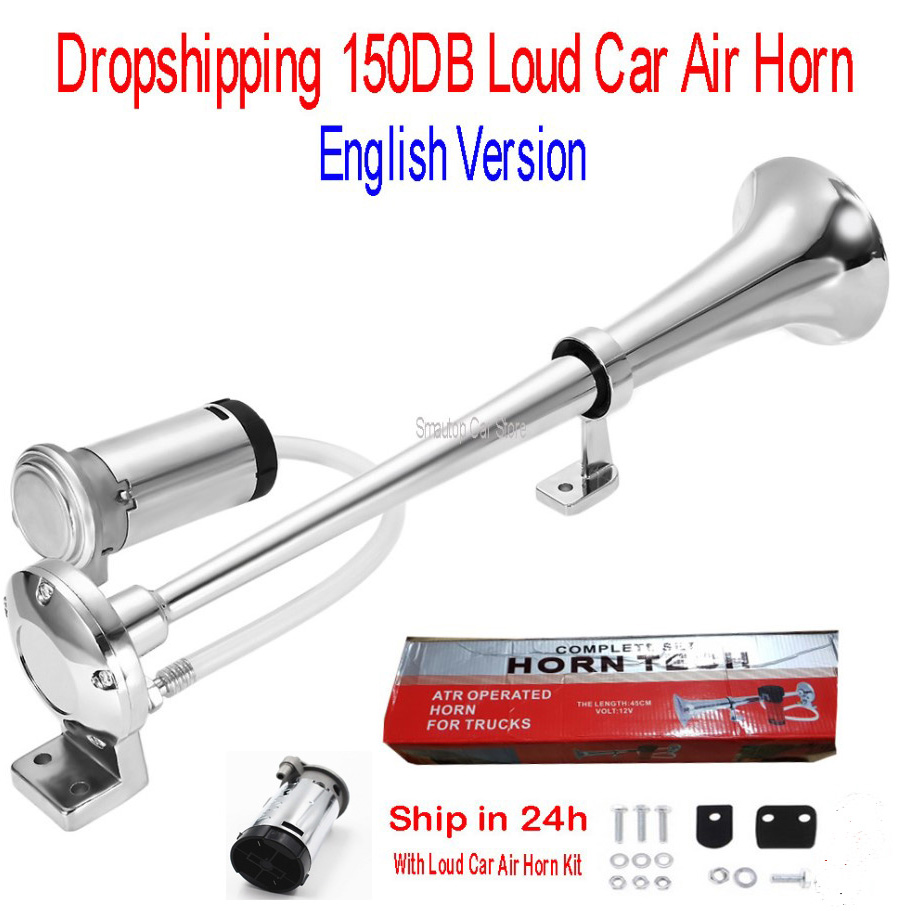 Air Horn 150DB Loud Car Universal 17 Inch 12V 180 Hertz Single Trumpet Compressor for Trucks Cars Automobiles dropship