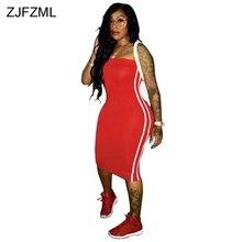 6e1b040d1cc ZJFZML White Side Stripe Sexy Wrap Dress Women Red Strapless Sleeveless  Party Dress Summer Blue Off
