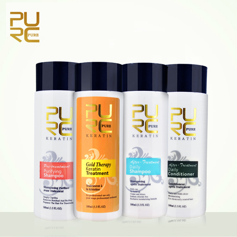 PURC Gold Therapy Brazilian Keratin Treatment Straighten Hair and Repair Coarse Frizzy Dry Split Ends Shampoo Conditioner Set image