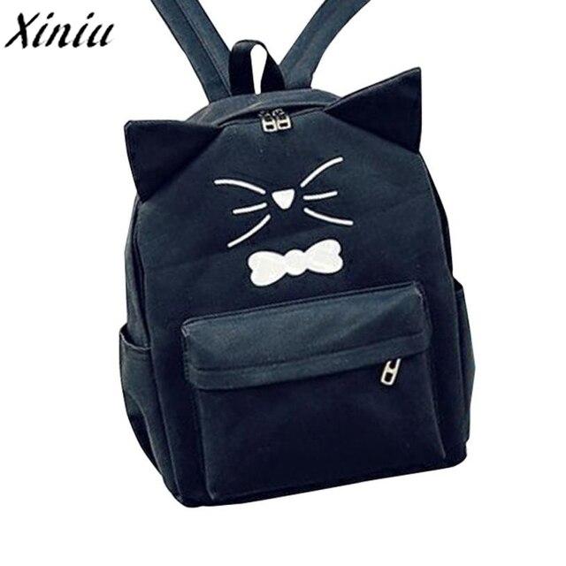 88366f8e7a06 Women Preppy Style Backpack Girls Cute Cartoon Cat Printing Travel Bagpack  Rucksuck Fashion School Bag Sac