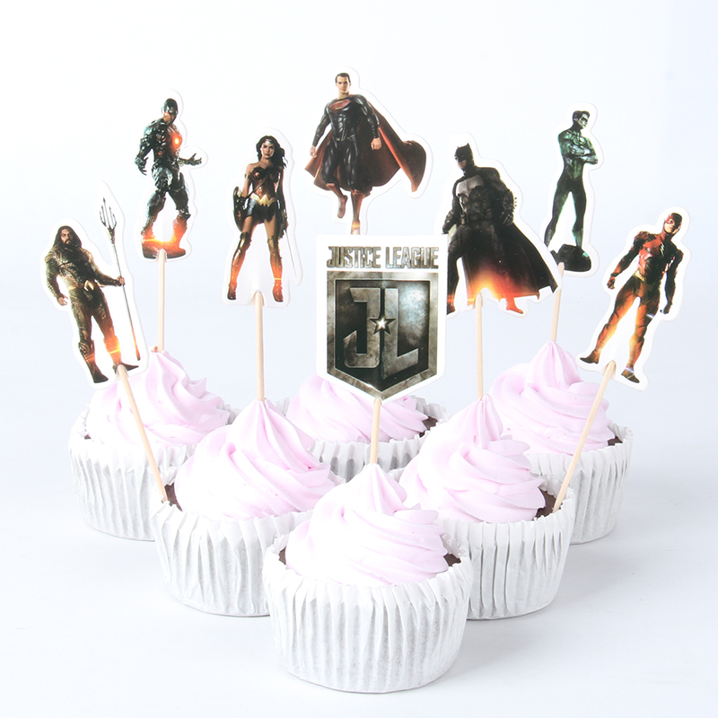 24pcs Lot Justice League Theme Cartoon Cupcake Toppers Party Decoration Children Birthday Cake Flag Supplies