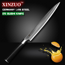 XINZUO 10.5 inch sashimi knife with Scabbard Germany steel Willow kitchen knife One-sided fish knives Ebony handle free shipping