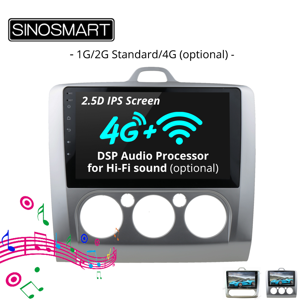 SINOSMART 2.5D IPS Screen 1G/2G Car Audio Navigation GPS Player for Ford Focus Android 8.1 32EQ DSP, 4G SIM Card Slot Optional