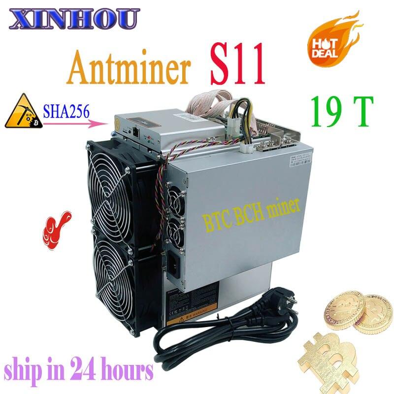 Asic BTC BCH SHA-256 minero AntMiner S11 19 T con PSU Bitcoin Miner mejor que S9 S15 T15 Innosilicon T2T t3 WhatsMiner M3 M10
