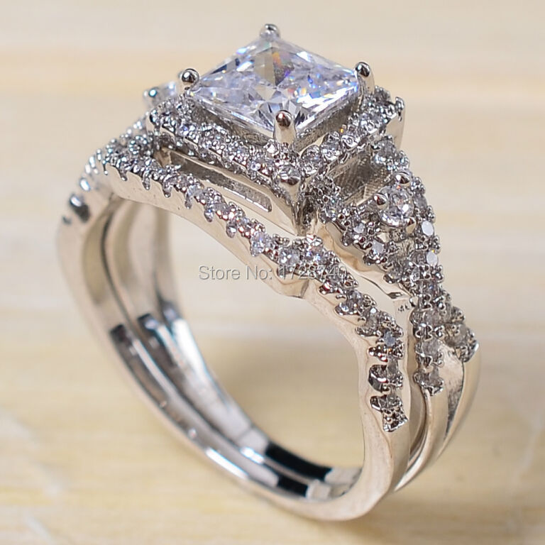 Sz 5 10 Princess Cut White Gold Filled Cz Women Wedding Ring Set Bridal Engagement Free Shipping In Rings From Jewelry Accessories On
