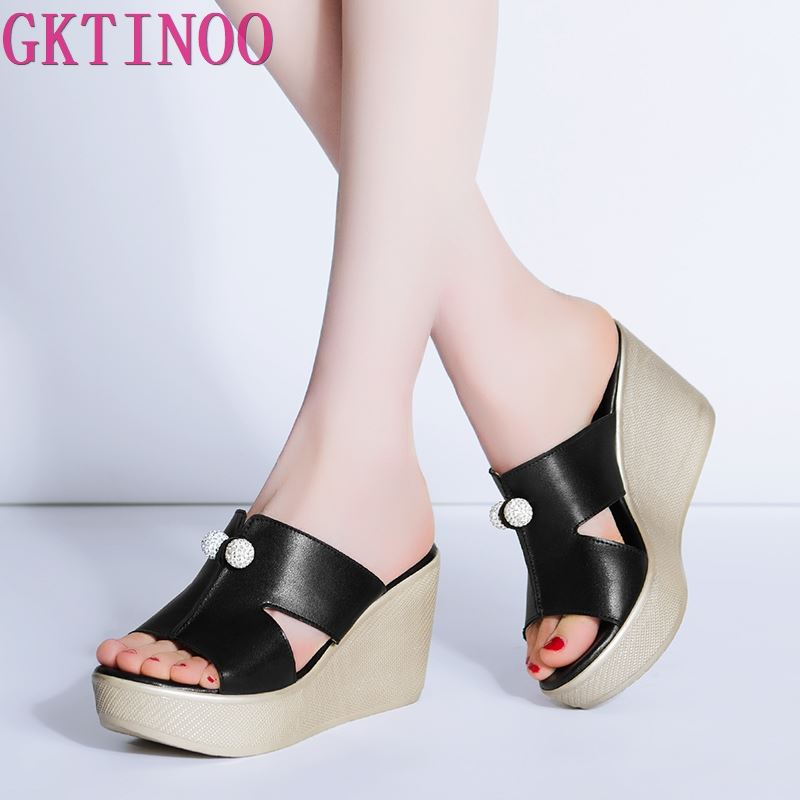 2020 New Summer Genuine Leather Platform Wedges Sandals Women Fashion High Heels Female Summer Shoes Size 34-43