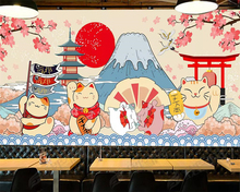 Beibehang Custom wallpaper Japanese style Fujiyama cartoon mural food sushi restaurant background walls 3d