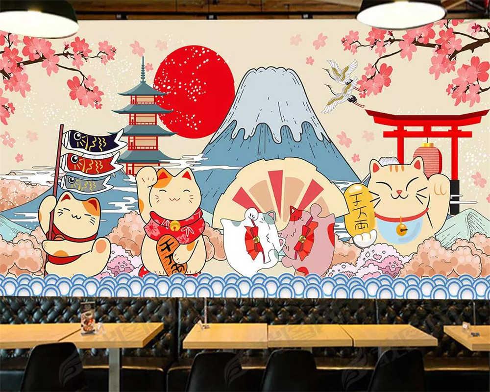 Beibehang Custom Wallpaper Japanese Style Fujiyama Cartoon Mural Japanese Food Sushi Restaurant Background Walls 3d Wallpaper