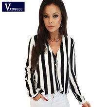 Vangull V-Neck Blouse Women Striped Shirt 2019 New Spring Fashion Long Sleeve Female Sexy Tops Shirt Blusas Feminine Blouses(China)