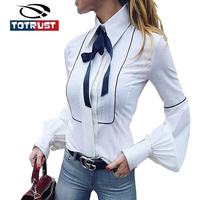 TOTRUST Ladies Neck Tie Blouse Shirt 2017 Office White Shirt Women Cotton Long Sleeve Ladies Tops