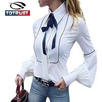 TOTRUST Ladies Neck Tie Blouse Shirt 2017 Office White Shirt Women Cotton Long Sleeve Ladies Tops