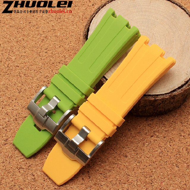 High quality  28mm notch end camouflage rubber watchband with stainless steel clasp Waterproof silicon watch tape strap