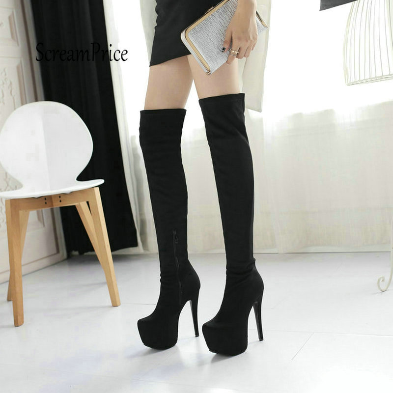 Plus Size 43 Platform Sexy Thin High Heel Over The Knee Fashion Zip Winter Warm High Quality Boots Shoes