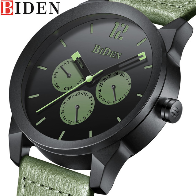 Brand Luxury Sport Men watch BIDEN leather Fashion Waterproof Analog Military Quartz Watch Male Clock bayan kol saati 2018 fashion watch men retro design leather band analog alloy quartz wrist watch erkek kol saati