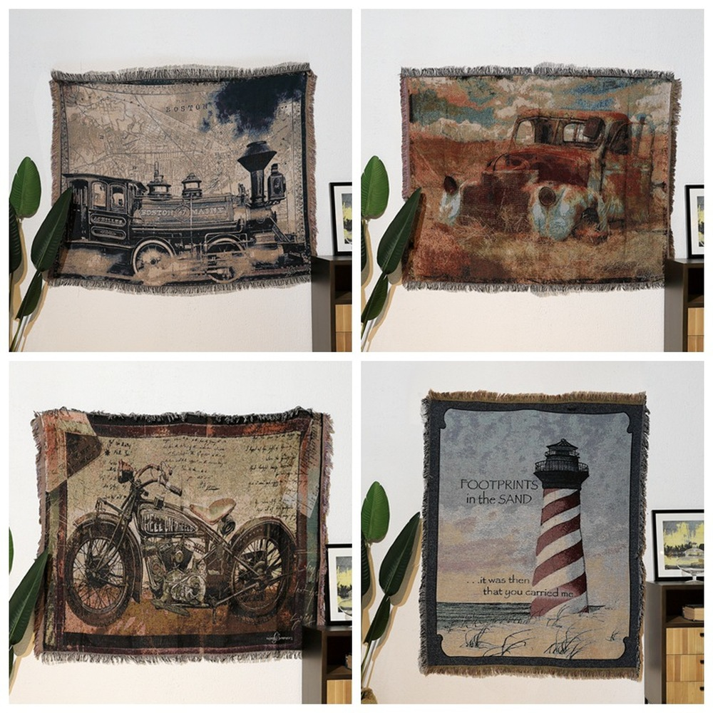 Dilapidated Car\Motorcycle\Train Cotton Vintage Carpet Thicken Throw Blanket Tie-dye Blanket Bed Cover Sofa Towel Felts TapestryDilapidated Car\Motorcycle\Train Cotton Vintage Carpet Thicken Throw Blanket Tie-dye Blanket Bed Cover Sofa Towel Felts Tapestry