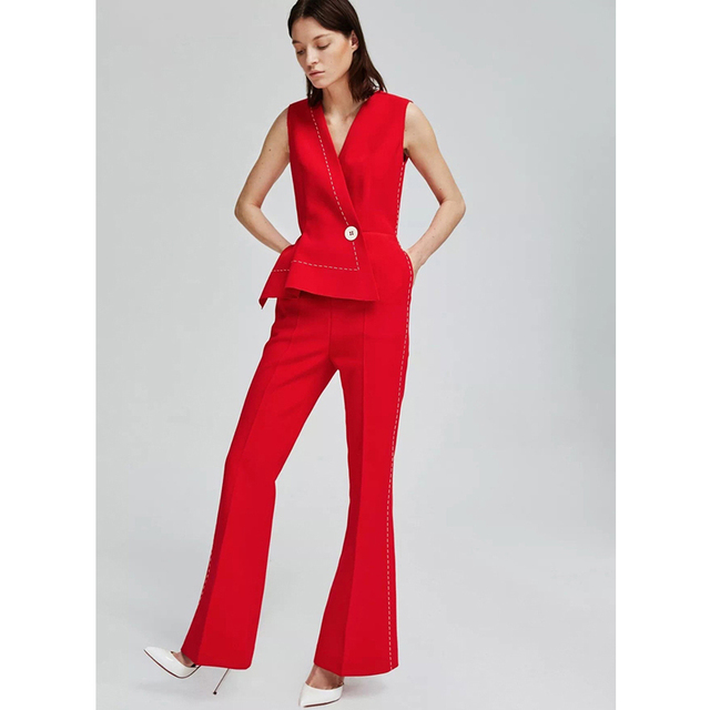 white stitched black   red long jumpsuits for women v neck sleeveless  single button flare pants formal office elegant jumpsuit 4cb122d24bb7