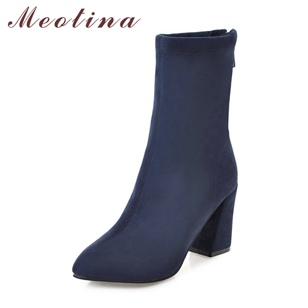 Meotina Winter Women Boots Female Mid Calf Boots Zip Brand Design Western Boots 2018 Female Black Shoes Blue Red Plus Size 34-43