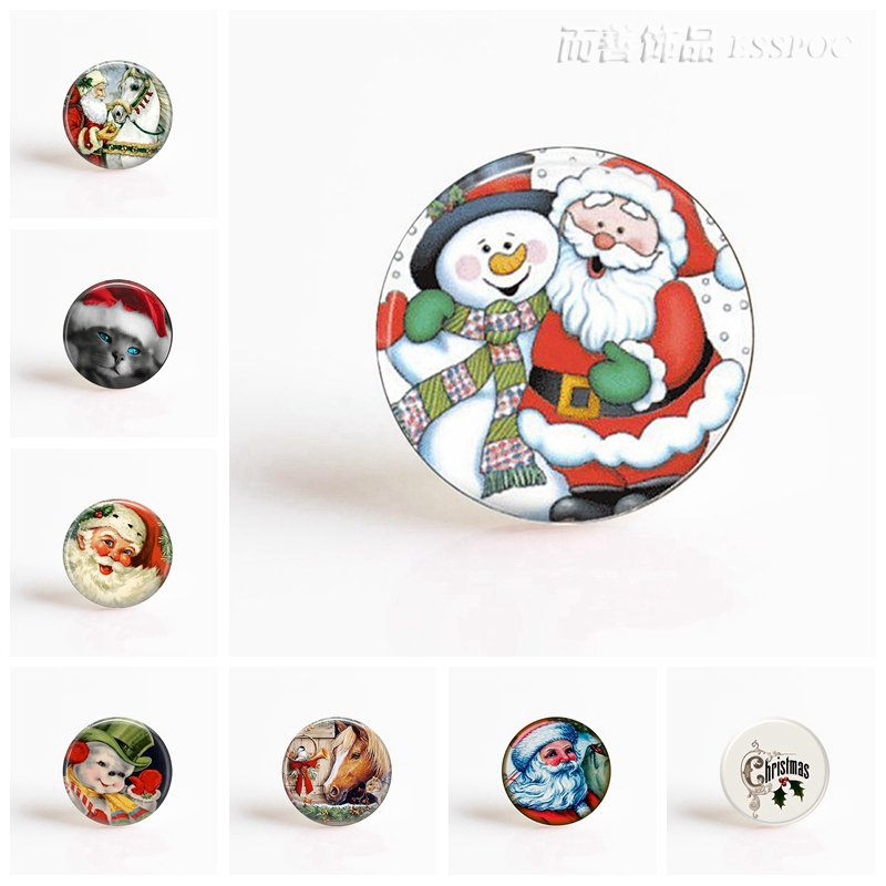 Christmas Accessories Santa Claus Snowman Glass Cabochon 25 MM for DIY Pendant Handmade Jewelry Findings & Components) merry christmas santa claus diy wall stickers glass showcase decor