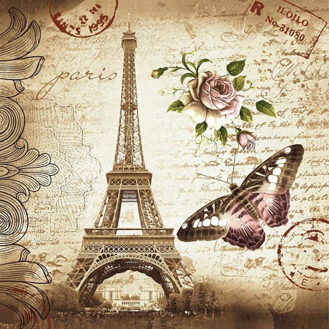 Paris Shower Curtains Bathroom Mildewproof Polyester Butterfly Rose Eiffel Tower Waterproof Fabric With
