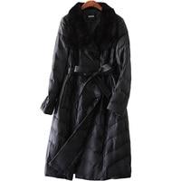 YOLANFAIRY Geniune Leather Jacket Women Sheepskin Leather Fox Fur Collar Quality Duck Down Coats Winter Warm Jackets MF267