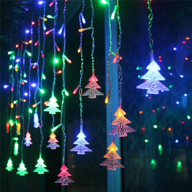 Christmas Lights Outdoor Decoration 5m Droop 0.4 0.6m Led Curtain Icicle String Lights Garden Xmas Party Decorative Lights