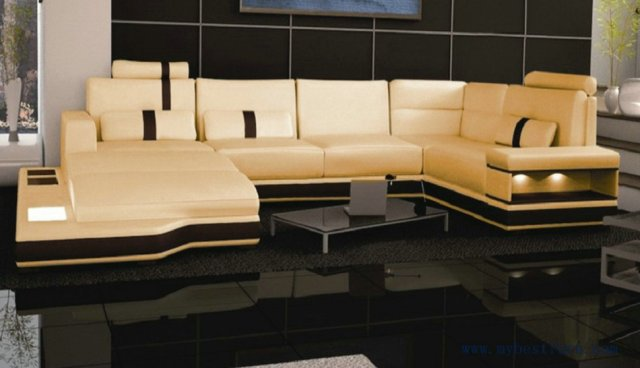 Free Shipping Super Large Size Villa Furniture Genuine Leather Sofa Set Modern Couch S8704