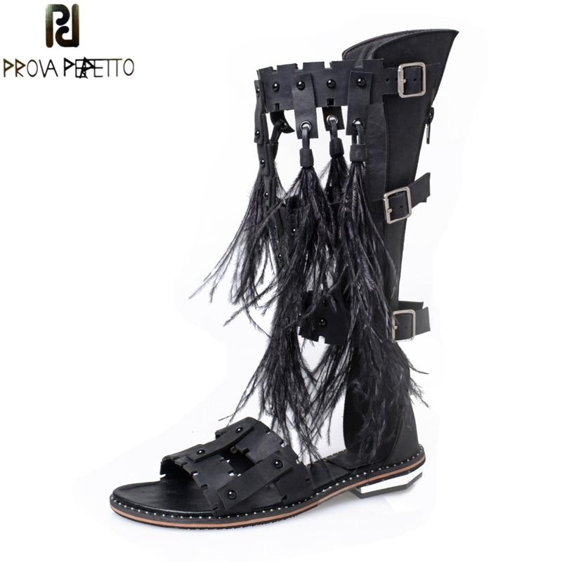 Prova Perfetto Summer Gladiator Sandals Feather Tassel Solid Long Sandals Boots font b Women b font