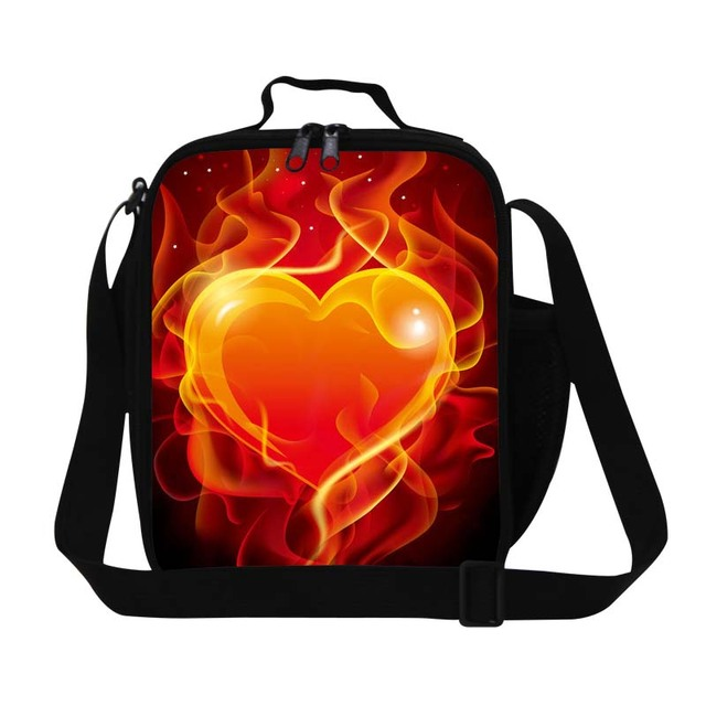 Red heart printing lunch cooler bag for kids,girls lovely insulated lunch container,thermal crossbody lunch box bag for school