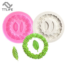 TTLIFE Wreath Silicone Moulds New Two Leaves Mold Frame Biscuits Fondant Cake Decorating Tools Bakery Molds