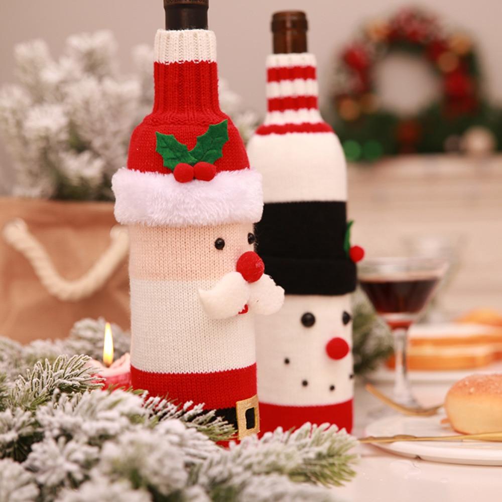 1PC Christmas Santa Claus Knitting Red Wine Bottle Cover For Bar Xmas Snowman Bottle Bag Decoration Dinner Table Decor For Home in Stockings Gift Holders from Home Garden
