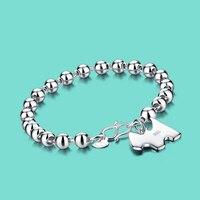 100 925 Sterling Silver Bracelet Cute The Dog Pendant Round Bead Bracelet Lady Solid Silver Bracelet