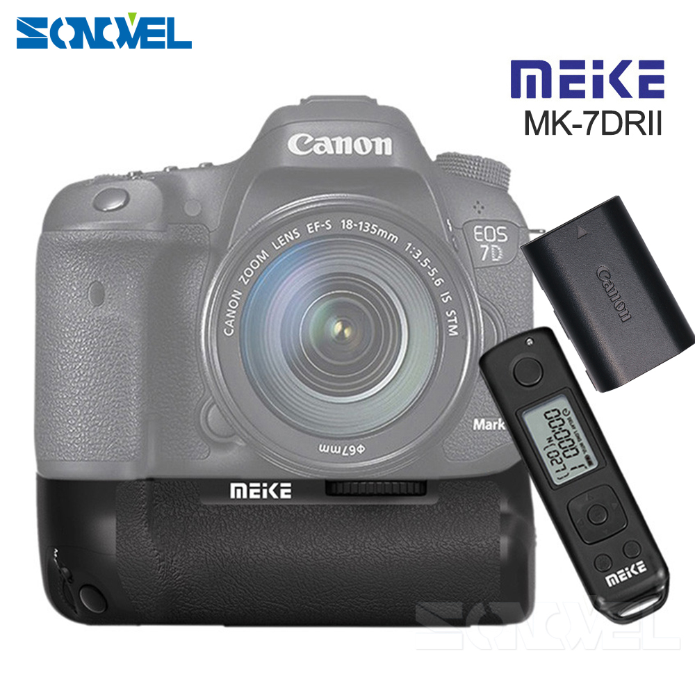 Meike MK-7D II Pro Wireless Remote Control Vertical Battery Grip with LP-E6 Battery for Canon EOS 7D MARK II Camera as BG-E16 shoot lp e6 7 2v 1800mah battery pack for canon eos 5d mark ii 7d 60d
