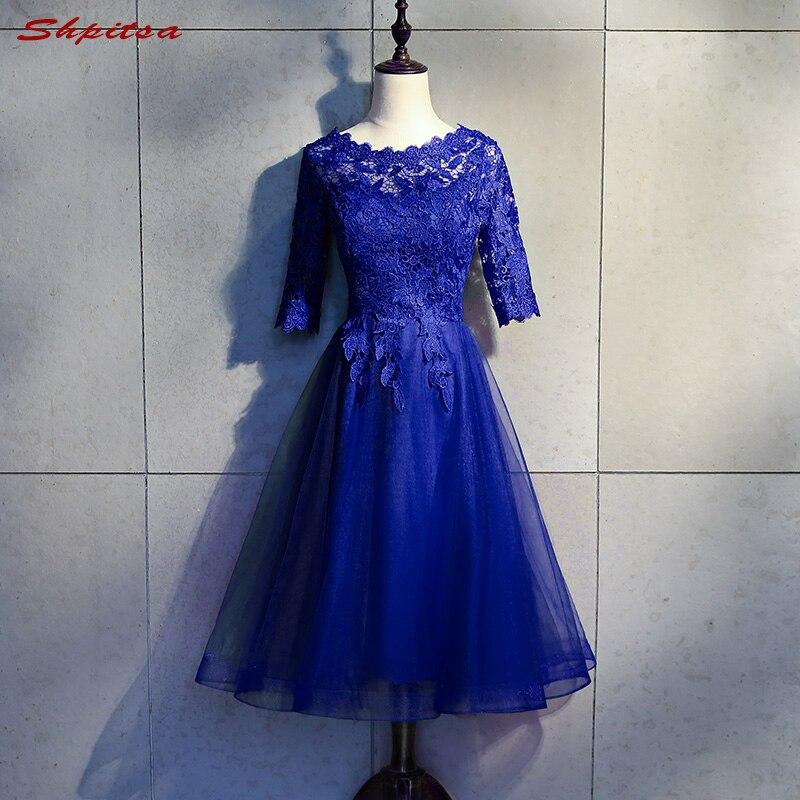 Royal Blue Short Formal Cocktail Dresses Women Lace Graduation Prom