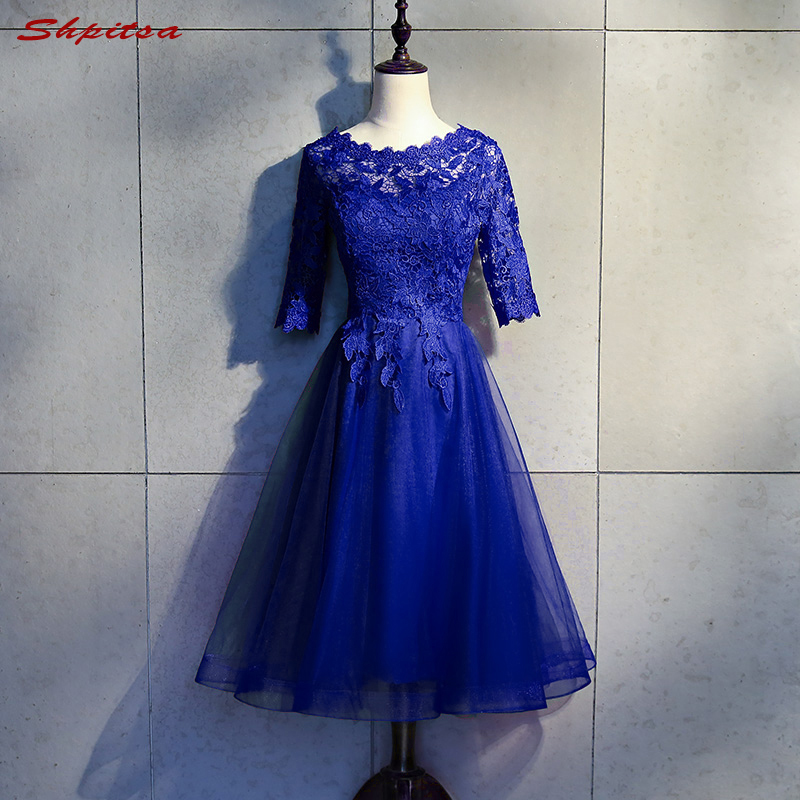 Royal Blue Short Formal   Cocktail     Dresses   Women Lace Graduation Prom Party Coctail   Dress   vestido de festa curto coctel