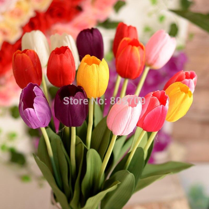 30pcs Artificial 63cm Silk Tulips Flower Bush Bouquet Plant Ornament Arrangement Wedding Home