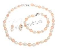 Naturali i monili della perla d'acqua dolce insiemi di jewellry vintage bracelet & earring & necklace sterling silver catenaccio