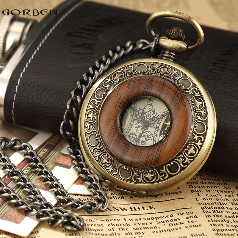 Hot Sale Retro Wood Circle Skeleton Pocket Watch Men Unique Hollow  Mechanical Hand-winding Roman numerals FOB Chain Watch Gift elegant retro fob chain pendant copper roman numbers skeleton hand winding mechanical pocket watch flower dial gift womens mens