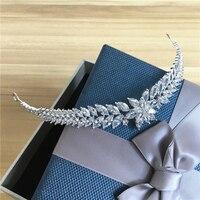 Full Zircon Tiara CZ Crown Headband Wedding Hair Accessories Diadem Hair Jewelry Tiaras And Crowns Diadema Coroa Noiva WIGO0864