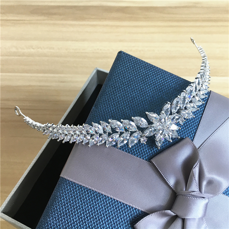 Full Zircon Tiara CZ Crown Headband Wedding Hair Accessories Diadem Hair Jewelry Tiaras And Crowns Diadema Coroa Noiva WIGO0864