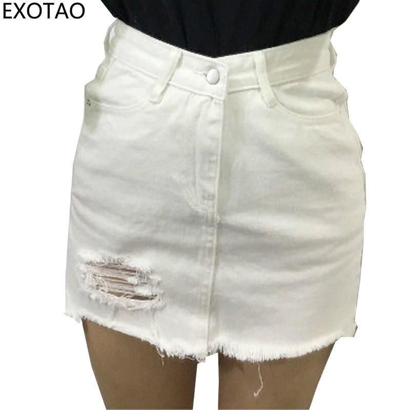 EXOTAO ebaregulaarne auk naise denim lühikesed seelikud suvel Slim Faldas Mujer tahke kõrge talje Saia Naiste vabaaja A-line seelikud 2019