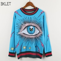2018 Women Embroidered Sweater O Neck Print Eyes Sweaters Female Pullovers Full Sleeve Sweaters Blue Winter Sweater Women