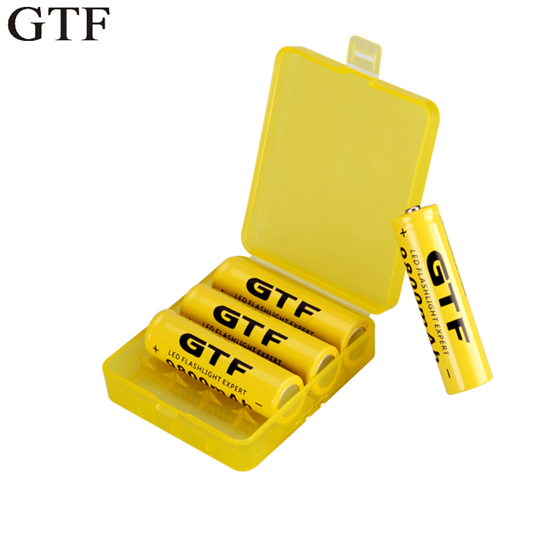 GTF 4 pc 18650 Batterie 3.7 V 9800 mAh Capacité Li-ion Rechargeable Batterie Pour lampe de Poche Torche + 18650 Batterie De Stockage boîte
