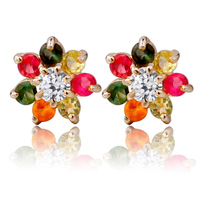 Natural Tourmaline Stud Earring S925 Sterling silver Top Fashion Flower Woman Girl Jewelry Birthstone Gift se0051tm
