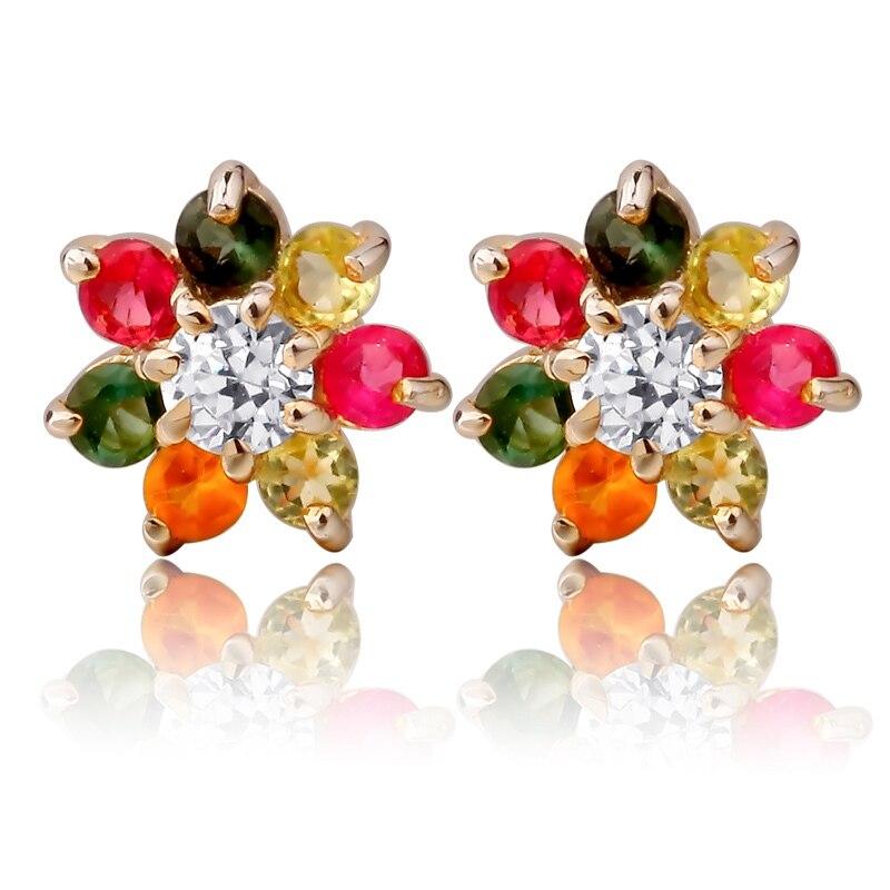Tourmaline naturelle Stud boucle d'oreille S925 en argent Sterling haut à la mode fleur femme fille bijoux pierre de naissance cadeau se0051tm